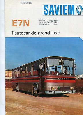 Sales brochure,  Saviem ( Renault) E7N coach/bus chassis 1977