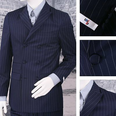 Get Up SLIGHT SECOND Double Breasted Slim Fit Pinstripe Suit Navy JACKET ONLY