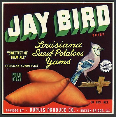 JAY BIRD Vintage Breaux Bridge Louisiana Yam, Blue, *AN ORIGINAL LABEL* wear E30
