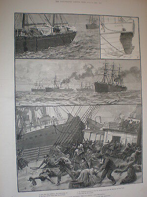 Collision between 2 ocean steam ships SS Celtic and SS Britannic 1887 prints