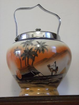 """Hand painted Antique made in Bohemia biscuit barrel. 6"""" high"""