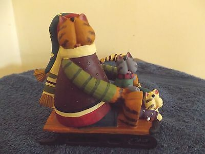 Williraye WW2976 COOL CATS RUNNING Resin Cats on Sled Figurine with Box REDUCED