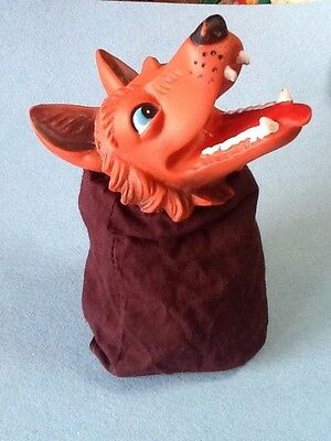 Vintage Hand Puppet Fox Rubber Head  'awesome'  Excellent Condition