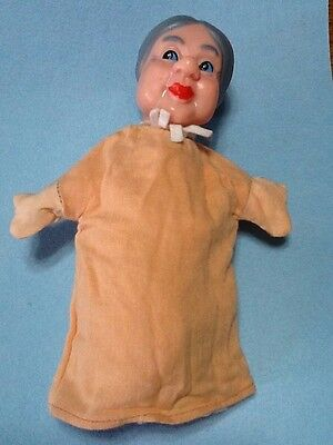 Vintage Hand Puppet Old Lady Rubber Head Excellent Condition