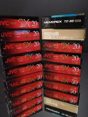 New Camcorder VHS Blank Tapes Lot JVC Maxell Memorex High Grade, TEN TAPES