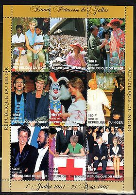 NIGER STAMPS- Diana meets famous people, JP II, stamp sheet, 1997