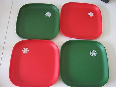 Tupperware Christmas Plates Red and Green with Snowflakes and Doves