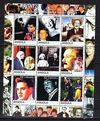 ANGOLA STAMPS- Great People of XX century, stamp sheet 2000 (MNH)