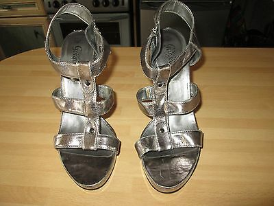 Size 7 Silver peep toe sandals by NEW LOOK