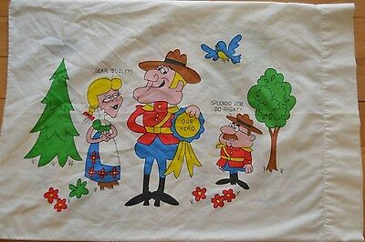 Vintage Dudley Do Right Standard Pillowcase Rocky & Bullwinkle Cutter Fabric