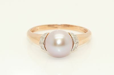 Stunning 9Ct Rose Gold Cultured Pearl Diamond Accent Ring, Size V 1/2