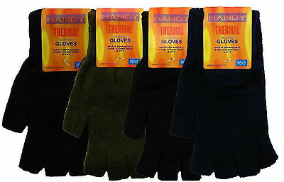Mens Youths Thermal Warm Knitted Fingerless Gloves One Size Assorted Colours