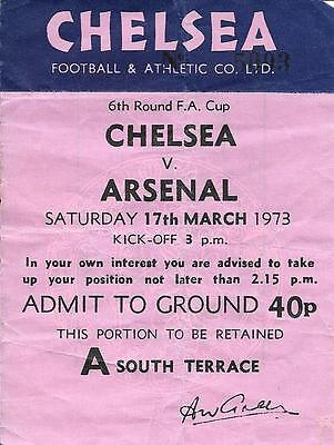 Ticket FA Cup 6th Round Chelsea v Arsenal 1972/73