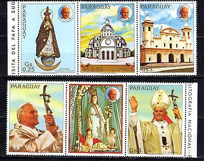 PARAGUAY STAMPS- John Paul II, visit, two strips of 3, 1983 (MNH)
