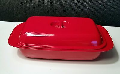 Vintage Mid Century Mod Butter Dish Funky Red Melamine