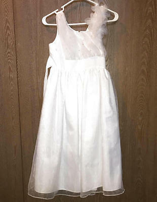 WHITE FORMAL FLOWER GIRL DRESS 10 Girls Toile Lace Gown Jessica Ann