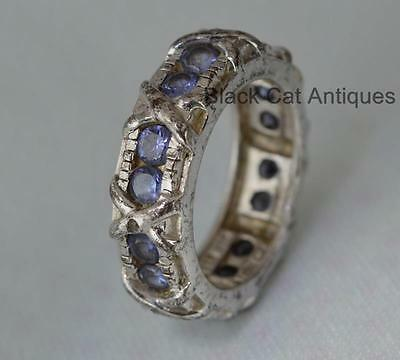 Fancy Blue Cubic Zirconia Eternity Band 925 Sterling Silver Ring Sz 6