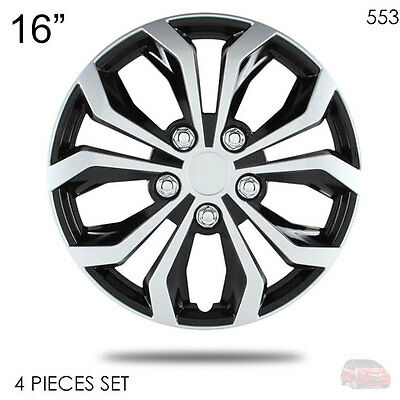 """New 16"""" Abs Silver Rim Lug Steel Wheel Hubcaps Cover 553 For Honda"""