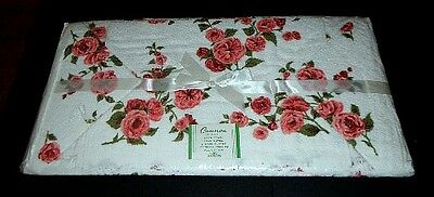 Vtg Cannon Cotton Fringed Floral Pink Roses Bath Towel 4 Piece Set Nos Shabby