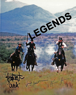 """TOMBSTONE -8"""" x 10"""" Autographed Color copy Buck Taylor,Val Kilmer & Kurt Russell"""