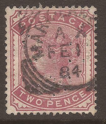 GREAT BRITAIN. QV. PERFIN. 2d ROSE. USED.