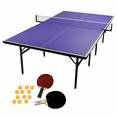Table Tennis Table Folding Full Size Ping Pong Play Professional Tournament Blue