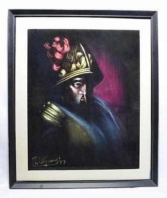 Retro 1970s Vintage Painting on Felt, Signed and Dated