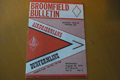 Airdrieonians (Airdrie) V Dunfermline Athletic         League Cup        30/8/78