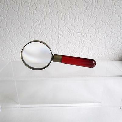 Antique Magnifying Glass With Ruby/Cranberry Glass Handle