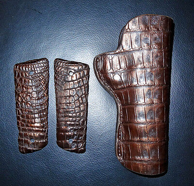 Colt 1911 45 Very Rare Gold Brown Genuine Nile Crocodile Holster And Grips New