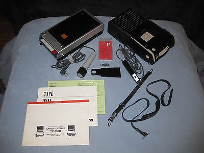 Vintage Sony Cassette Recorder TC-110B w/ Accessories Not Working For Repair