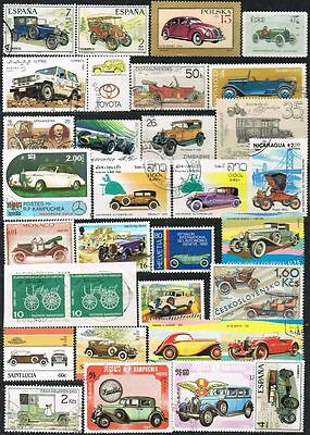 Thematics. Transport. Mixed selection of 32 Motor Cars, etc. on stamps