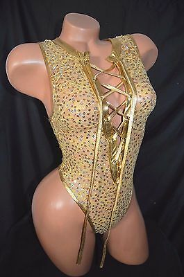 Exotic Dancer Stripper Gold Sequin Lace One Piece Thong Back Romper ~ Dancewear
