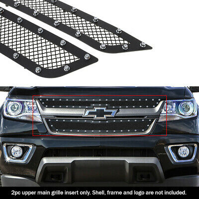 Fits 2015-2017 Chevy Colorado Stainless Steel Black Rivet Mesh Grille