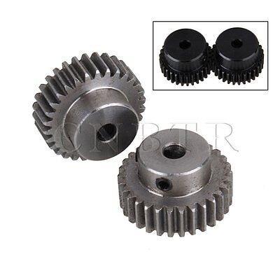30 Teeth 0.6 cm Hole Diameter Motor Metal Steel Gear Wheel Set of 2
