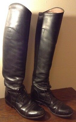 """Girls Black Leather Tall Riding Equestrian Boots Pull-on Lace-up Vtg? 19.5"""""""