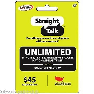Straight Talk Rob *INSTANT* Refill Card 30 Day $45 Prepaid Unlimited Service Top