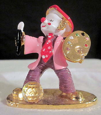 Spoontiques Pewter Clown Figurine Swarovski Crystal Ball Artist Picasso Painter