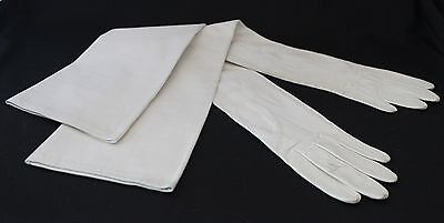 "White Kid Leather Opera Length Gloves 21.5"" Lionel Le Grand FRANCE 3 Button"