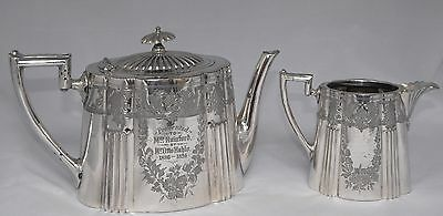 Superb Victorian Walker & Hall Silver Plate Tea Pot & Creamer - Hand Chased