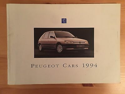1994 Peugeot Cars brochure, thick 72 page (106 205 306 405 605) - very detailed