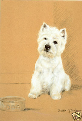 """WEST HIGHLAND WHITE TERRIER WESTIE DOG ART LIMITED EDITION PRINT  """"Suppertime"""""""