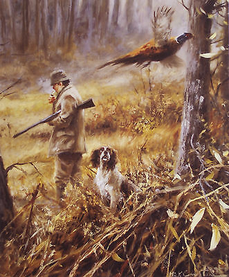 ENGLISH SPRINGER SPANIEL SHOOTING DOG FINE ART PRINT - by the late Mick Cawston