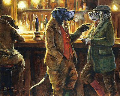ENGLISH SETTER & POINTER COMIC DOG FINE ART PRINT - by the late Mick Cawston