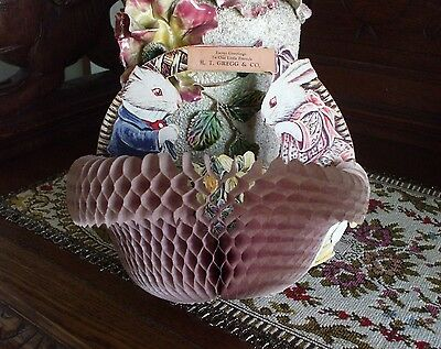 Vintage Easter Beistle Honeycomb Fold Out Basket Advertising Display Antique