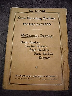 1938 No. 83-GM McCormick Deering Grain Harvesting Machines Parts Manual Binder