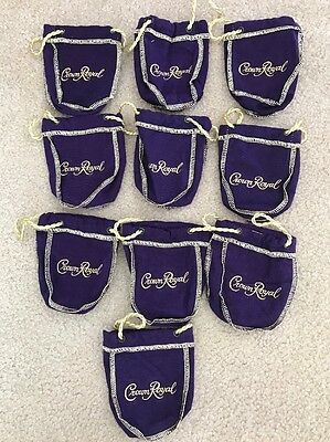 """Crown Royal Bag - Purple and Gold- """"New"""" 50 Ml Set Of Ten"""