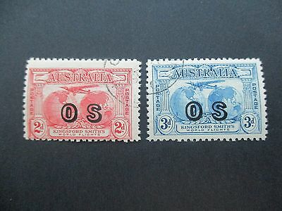 Australia Pre decimal Stamps: Airmail Overprint OS Fine Used