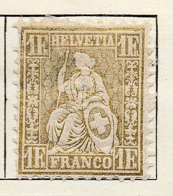 Switzerland 1862 Early Issue Fine Used 1F. Sitting Helvetia 121121