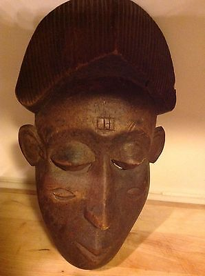 Wonderful Old Wood Mask by Baule People, African Ivory Coast - Great Patina